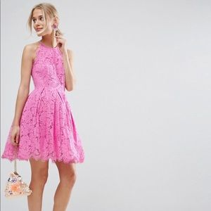 Pink lace fit and flare dress from ASOS, size US 4